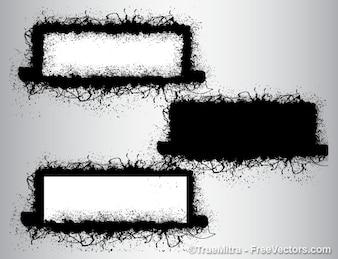 Grunge cepillos banners fondo conjunto de vectores