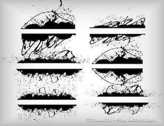 Grunge conjunto texturas salpicaduras pinceles fondo conjunto de vectores