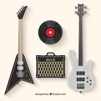 Guitarra eléctrica Bajo Amplificador Guitarra y disco de vinilo