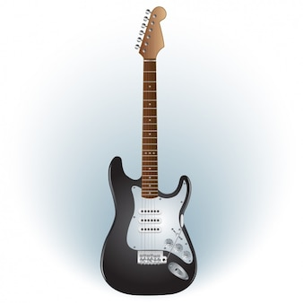 Guitarra electrica blanca y negra