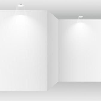 habitación blanca vacía con focos