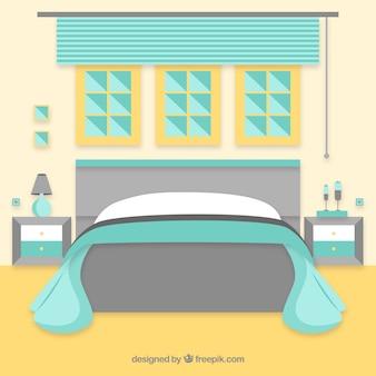 Habitación con cama y ventanas