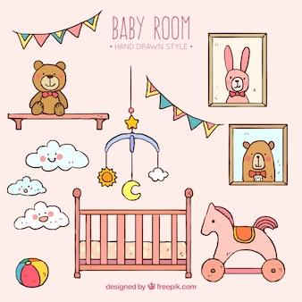 Habitación dibujada a mano con juguetes para el bebé