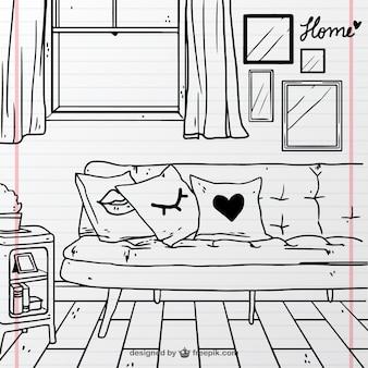 Habitación dibujada a mano con sofá y ventana