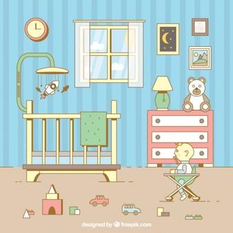 Habitación ordenada con bebé en diseño plano