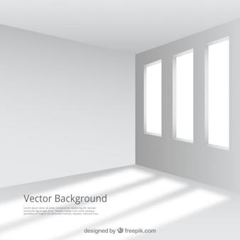 Habitación vacía y blanca con ventanas