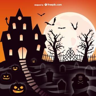 Halloween escena mansión y cementerio
