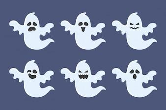 Halloween fantasma colección de personajes con expresiones. Ilustración del vector