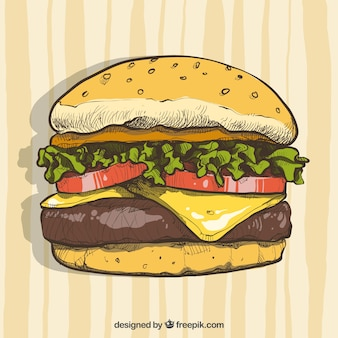 Hamburguesa con queso dibujada a mano