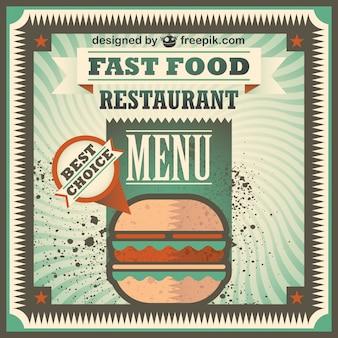 Hamburguesa en cartel de restaurante de comida rápida retro