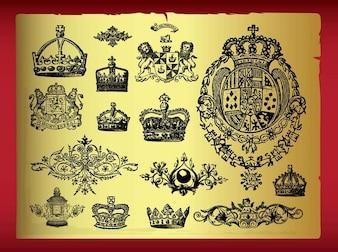 heráldica antigua Royal vector diseños