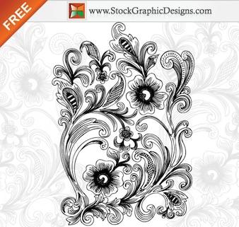 Hermosa decoración floral ilustración vectorial gratis