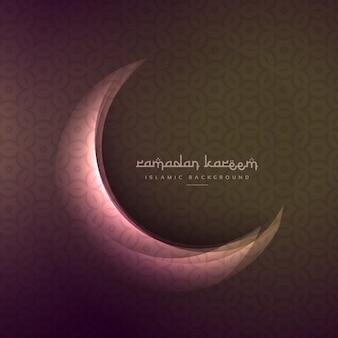 Hermosa luna brillante de ramadán y eid festival