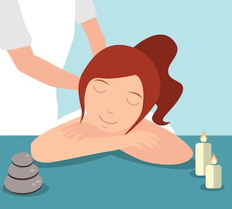 Hermosa mujer disfrutando de tratamiento de masaje dado por terapeuta, concepto de Spa
