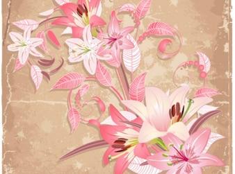 Hermosas flores arte blanco conjunto de vectores