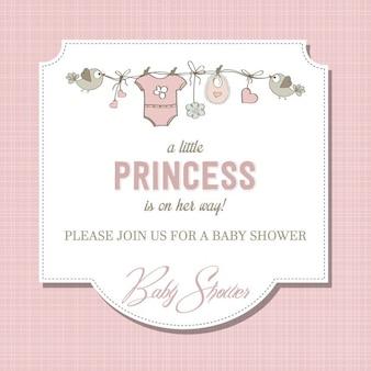 Hermoso bebé tarjeta de ducha de la niña