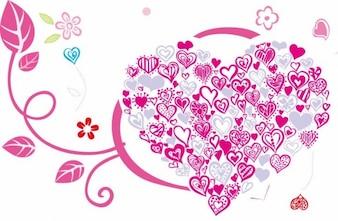 hermoso corazón con adornos florales