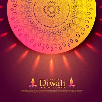 Hermoso diwali celebración saludo con mandala decoración