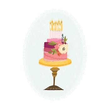 Hermoso pastel de cumpleaños dibujado a mano