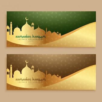 Hermosos banners dorados del ramadan kareem