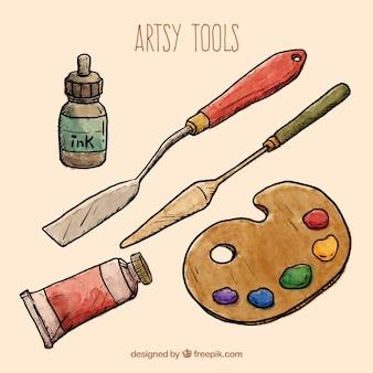 Herramientas artísticas dibujadas a mano
