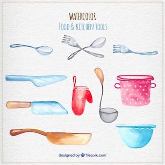 Herramientas de cocina de acuarela