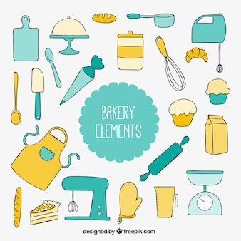 Herramientas de cocina dibujadas a mano para repostería
