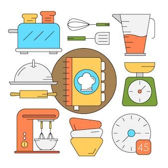 Herramientas de cocina en estilo lineal