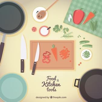 Herramientas de cocina y comida