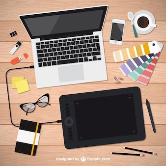 Herramientas realistas de diseñador gráfico