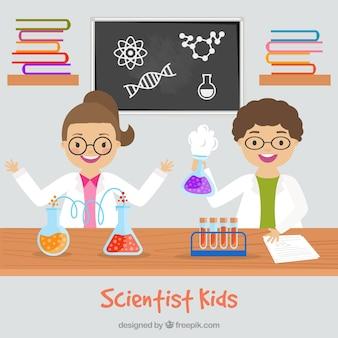 Hijos científico en el laboratorio de diseño plano
