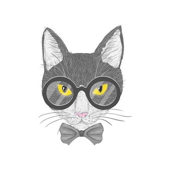 Hipster gato con gafas de arco y ojos amarillos aislados ilustración vectorial