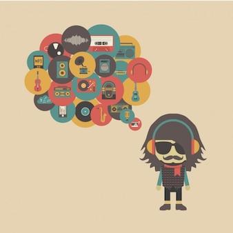 Hipster pensando en música