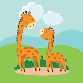 Historieta linda de la jirafa. Vector
