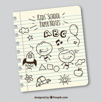 Hoja de libreta con dibujos