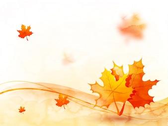 Hojas de otoño de fondo con ondas abstractas.