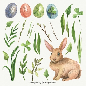 Hojas y adorable conejo dibujados a mano para el día de Pascua
