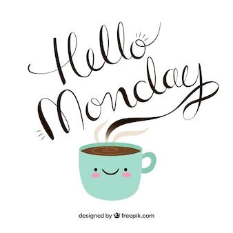 Hola lunes, letras dibujadas a mano saliendo de una taza de café