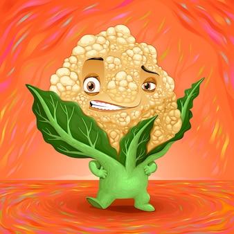 Hola mi nombre es la coliflor vector ilustración de dibujos animados