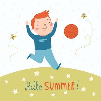 Hola tarjeta vector de verano