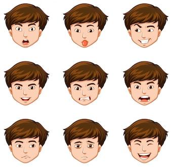 Hombre con diferentes expresiones faciales