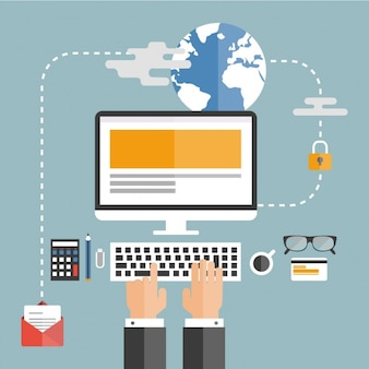 Hombre de negocio trabajando con su ordenador