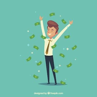 Hombre de negocios alegre con billetes