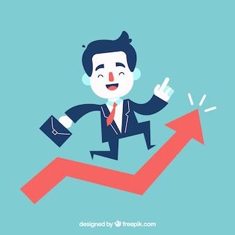 Hombre de negocios alegre saltando sobre un gráfico de crecimiento