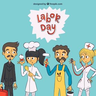 Hombre de negocios, chef, pintor y enfermera dibujados a mano