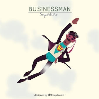 Hombre de negocios con disfraz de superheroe