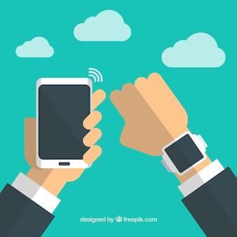 Hombre de negocios con dispositivos conectados a wifi