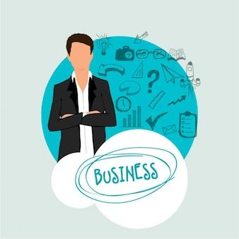 Hombre de negocios concentrado con los brazos cruzados