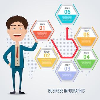 Hombre de negocios elegante con plantilla de infografía