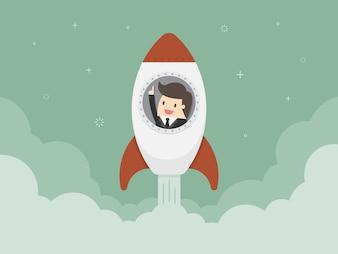 Hombre de negocios en un cohete